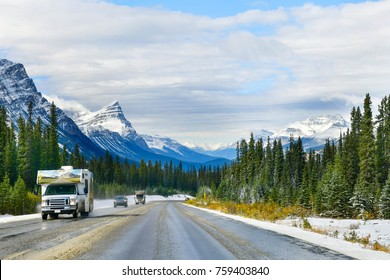 """The road 93 """"Icefield Parkway"""" in Autumn Jasper National park,Canada"""