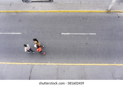 road from above with people