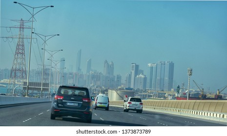 The road to abudhabi from dubai,at the end the city is stands pridely.taken from abu dhabi,UAE on 2/2/2019