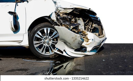 Road accident concept : Side view, damage and destruction of the car caused by a collision on the right side of the front bonnet severely.