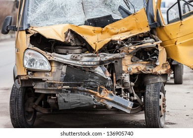 Road accident crash damaged car or wreck broken vehicle