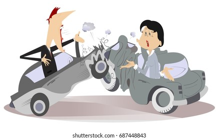 Road accident, young man and woman. The angry man and astonished young woman argue who is guilty of road accident