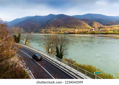 Road along the Danube river bank