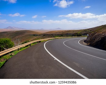 The road along the mountain slope at Fuerteventura, Spain.