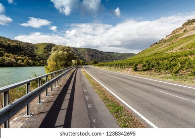 Road along the picturesque wine country Mosel river