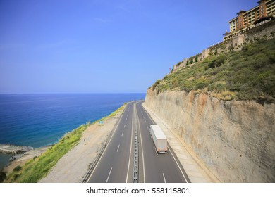 The road along the sea and truck