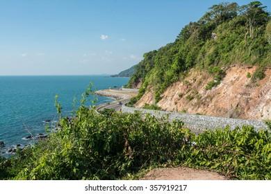 Road Along The Seashore, Chantaburi Province, Thailand