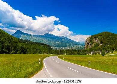 Road among Alps mountains, Vaduz, Oberland Liechtenstein