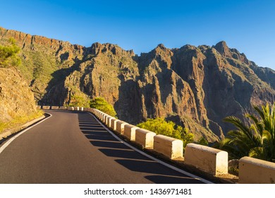 Road in Anaga Mountains Taganana, Europe, Spain, Canary Islands, Tenerife, San Andres, Playa de las Teresitas