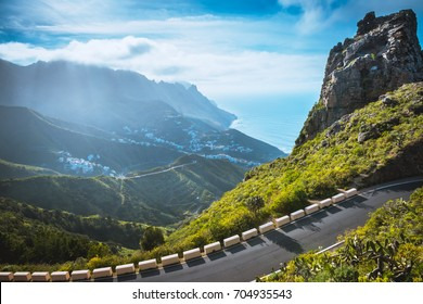 Road in Anaga Mountains Taganana Tenerife, Canary island