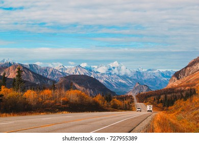 Road to Anchorage in Alaska. Mountains in Alaska, USA. Autumn