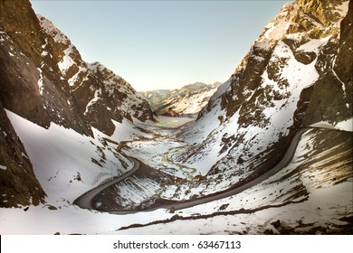 Road to Andina copper mine in chilean Andes