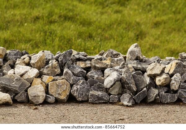 Road asphalt rubble stone