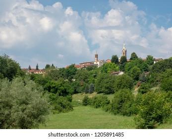 The road from Asti to Antignano, Monferrato, Piedmont, Italy, at summer