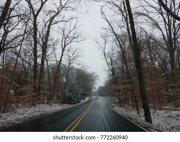 road with bare trees and snow in the winter