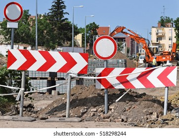Road barrier at the road construction