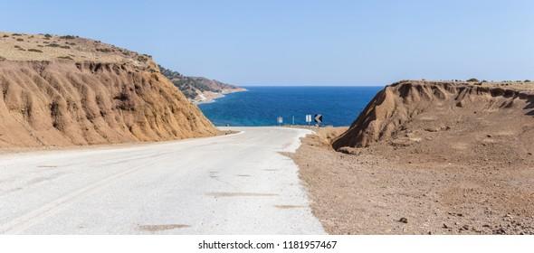 Road to the beach, in Samothrace island, Greece