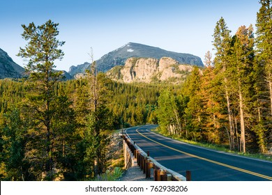 Road to Bear Lake at Rocky Mountains National Park, Colorado, USA