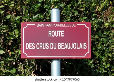 Road of Beaujolais wine sign, France
