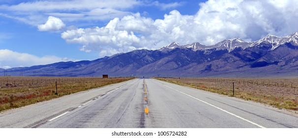 Road in Beautiful Alpine landscape in Rocky Mountains,
