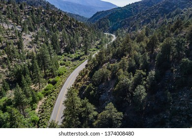 Road bends through a mountain canyon in a southern California forest.