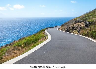 Road beside the ocean in Hawaii USA