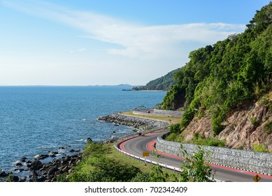 Road beside the sea in sunset ,Nang Phaya View Point (Chalerm Burapa Chollathit Road),Chanthaburi, Thailand