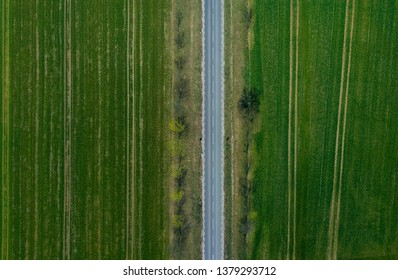 Road between fields from drone