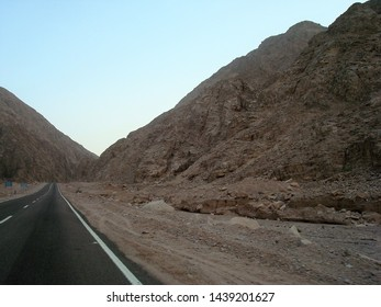 A road between the mountains in the Sinai Peninsula, Egypt.