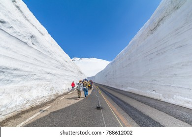 The road between snow wall of  Tateyama Kurobe Alpine Route or Japanese Alps with blue sky  background is  one of the most important and popular natural place in Toyama Prefecture, Japan.