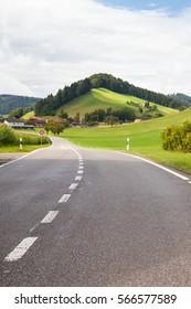 Road between Swiss pastures