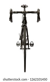 Road bike front view on white background.