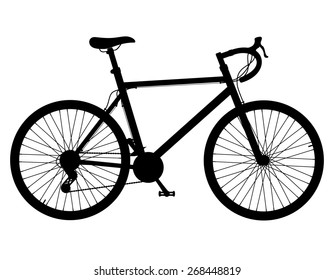 road bike with gear shifting black silhouette illustration isolated on white background