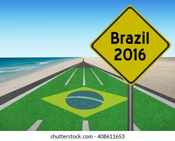 """Road to Brazil 2016 with Brazilian flag """"Order and Progress"""" in English at the beach"""