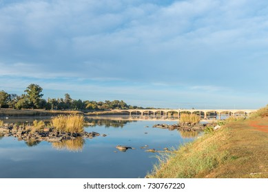 The road bridge over the Orange River at Upington, a town in the Northern Cape Province of South Africa