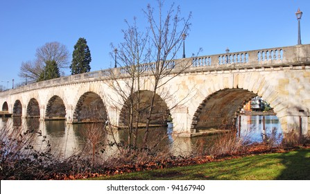 Road Bridge over the River Thames in Maidenhead Berkshire, England with clear blue sky