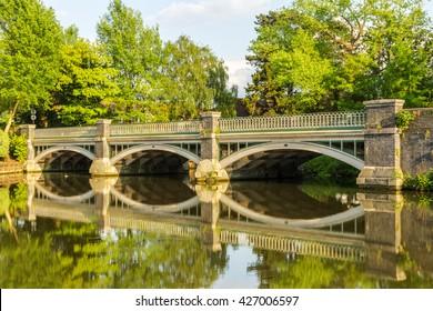Road Bridge over the River Wey at Weybridge, Surrey, England, UK