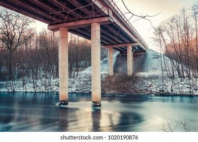 Road bridge over Ronne stream, Sweden.