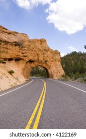 Road to Bryce Canyon National Park through tunnel