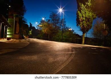 road by night, street, city, street light, urban road