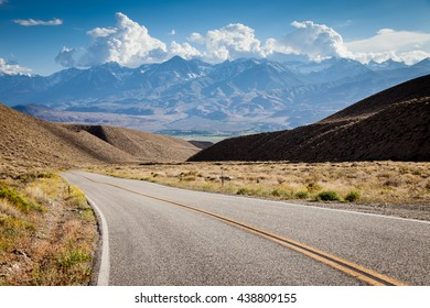 Road in California and mountains