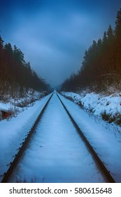 Road is calling (old railway, single way). Straight railway track disappears in distance among snow-covered forest and gloomy weather.