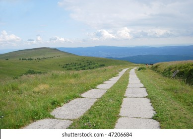The road in the Carpathian mountains