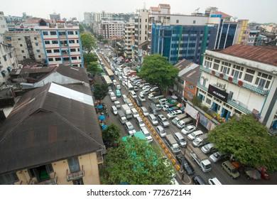 a road in the china town in the City of Yangon in Myanmar in Southeastasia. Myanmar, Yangon, April, 2015.