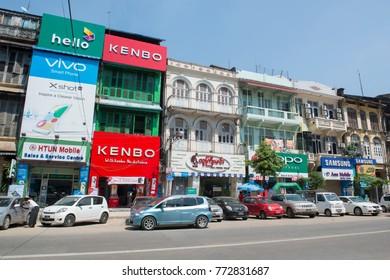 a road in the china town in the City of Yangon in Myanmar in Southeastasia.Myanmar, Yangon, April, 2015.