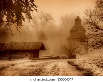 The road to the church and old house. Art photo in sepia.