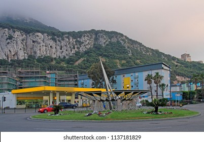 road circle located close to the border in Gibraltar, the british overseas territory