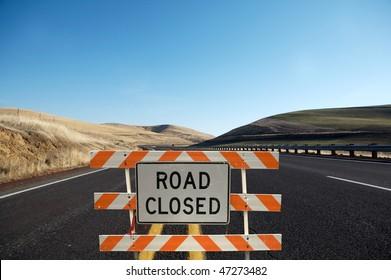 Road close traffic sign
