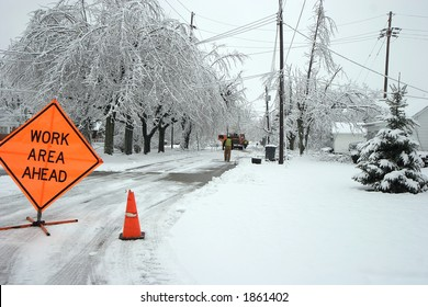 Road closed after an ice storm