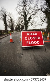 Road closed flood sign. UK red and White highway code sign